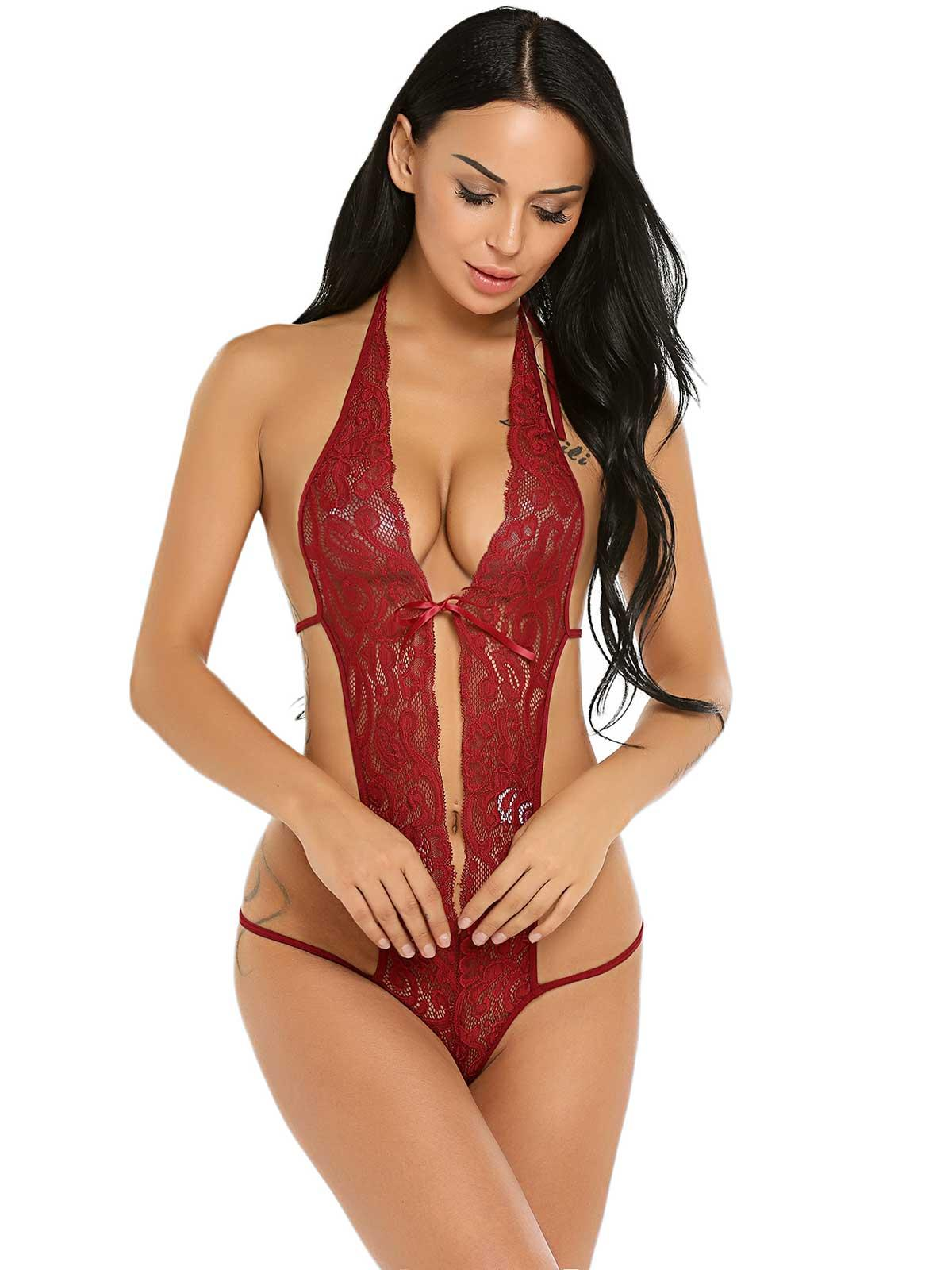 Dark red Halter Sheer Lace Plunging One Piece Lingerie Bodysuit bb1558974